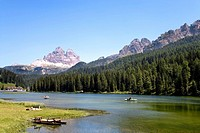 Lake Misurina, Tre Cime di Lavaredo in the background, Dolomites, Veneto, Italy