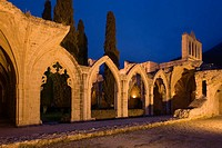 Bellapais abbey in the evening light, Beylerbeyi, Abbaye de la Pais, monastery ruin, near Kyrenia, near Girne, North Cyprus, Cyprus