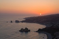 Petra tou Romiou at sunset, Rock of Aphrodite, Aphrodite´s birthplace, Symbol, the Rock from which Aphrodite mythically arose from the sea, Limassol, ...
