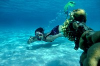 Snorkler with a photo camera in the coral reef Egypt.