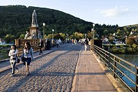 Tourists crossing Heidelberg old bridge, Neckar River, Baden_Wuerttemberg, Germany