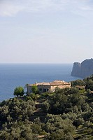 Finca and Coastline, Near Deia, Mallorca, Balearic Islands, Spain
