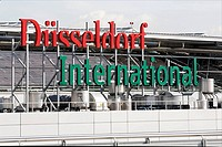 Airport Duesseldorf International, logotype at the building, NRW, Germany