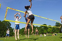 People playing volleyball in the English Garden, Munich, Bavaria, Germany