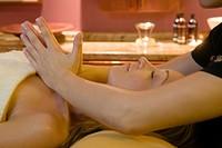 Woman enjoying a wellness massage, Le Meridien Limassol Spa and Resort, Hotel, Limassol, Cyprus