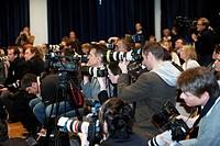 Photographers during Schwarzkopf press conference, Grandhotel Schloss Bensberg, Bergisch-Gladbach, North Rhine-Westphalia, Germany