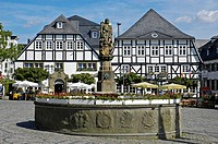 St. Peter fountain, market square, Brilon, North Rhine-Westphalia, Germany