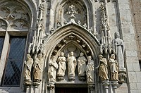 Detail of the facade of the historic townhall, Cologne, North Rhine-Westphalia, Germany