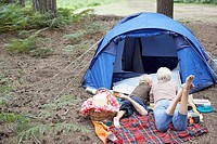 Mother and son camping (thumbnail)