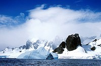 Glaciers and icebergs in Errera Channel at Culberville Island,