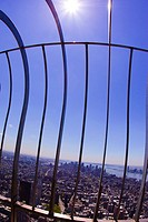 Gate atop of Empire State Building overlooking New York