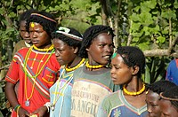 Young women of the Derashe people with colourful necklaces near Arba Minch Ethiopia