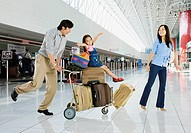 Asian family in airport