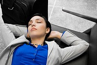 High angle view of a businesswoman sleeping