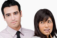 Close_up of a businessman and a businesswoman