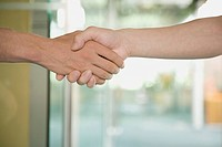 Close_up of a man and a woman shaking hands