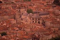 Aerial view over cathedral and old town, Cahors, Lot, Midi Pyrenees, France, Europe