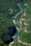 Aerial view of the Gorges du Tarn from Roc des Hourtous, in Lozere, Languedoc Roussillon, France, Europe