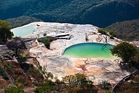 High angle view of a thermal pool, Hierve El Agua, Oaxaca State, Mexico