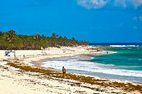 Tourist on the beach, Tulum, Quintan Roo, Mexico