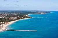 Aerial view of a pier in the sea, Playa Del Carmen, Quintana Roo, Mexico (thumbnail)
