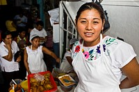 Portrait of a young woman smiling, Papantla, Veracruz, Mexico