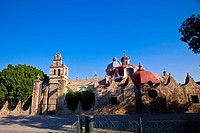 Trees in front of a church, Iglesia Del Carmen, Morelia, Michoacan State, Mexico
