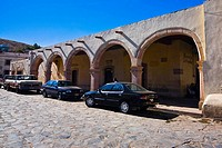 Cars parked in front of a building, Sombrerete, Zacatecas State, Mexico