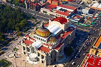 Aerial view of a palace, Palacio De Bellas Artes, Mexico City, Mexico