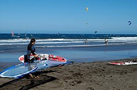 El Medano, beach with windsurfers and kitesurfers, Tenerife, Canary Islands, Spain