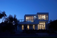 House in Kent, Exterior at dusk. Architect: Lynn Davis Architects