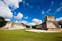 Old ruins of buildings on a landscape, Ball Court Ring, Chichen Itza, Yucatan, Mexico