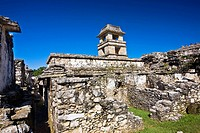 Low angle view of old ruins of the watchtower of a palace, Palenque, Chiapas, Mexico