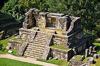 High angle view of old ruins of a temple, Temple XIV, Chiapas, Mexico
