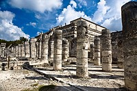 Old ruins of columns, Plaza of the Thousand Columns, Chichen Itza, Yucatan, Mexico