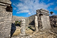 Old ruins of a building, Zona Arqueologica De Tulum, Cancun, Quintana Roo, Mexico