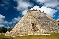 Workers restoring a pyramid, Pyramid of the Magician, Uxmal, Yucatan