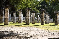 Old ruins of columns on a landscape, Plaza of the Thousand Columns, Chichen Itza, Yucatan, Mexico