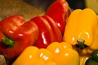 Close_up of red and yellow bell peppers at a market stall, Zacatecas State, Mexico