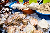 High angle view of breads and spices at a market stall, Zacatecas State, Mexico