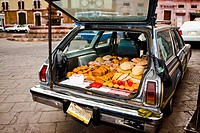 Breads in a car trunk, Zacatecas State, Mexico