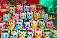 Masks at a market stall, Xochimilco, Mexico