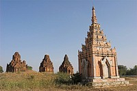 Payathonzu complex of three brick shrines with sikara that are interconnected, Salay Sale, Myanmar Burma, Asia