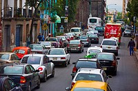 Traffic jam on a road, Mexico City, Mexico