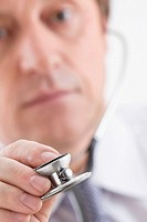 Close-up of a male doctor holding a stethoscope (thumbnail)