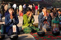 People praying, Ananda festival, Ananda Pahto Temple Old Bagan, Bagan Pagan, Myanmar Burma, Asia