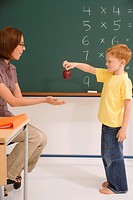 Side profile of a schoolboy giving an apple to his female teacher in a classroom