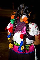 Rear view of a woman in traditional clothing, Janitzio Island, Morelia, Michoacan State, Mexico