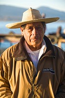 Portrait of a senior man, Janitzio Island, Lake Patzcuaro, Patzcuaro, Michoacan State, Mexico