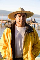 Portrait of a mature man, Lake Patzcuaro, Patzcuaro, Michoacan State, Mexico